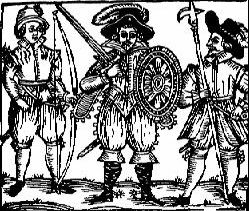 Early (Elizabethan?) Depiction of Robin Hood and his Merry Men. (Source: Bold Outlaw Website).