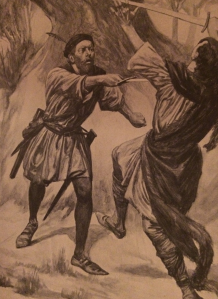 "An ""active"" hero - 19th-century illustration."