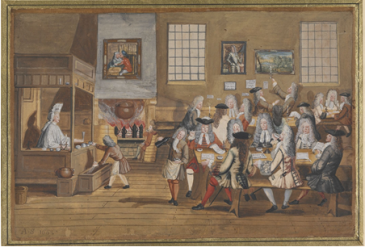 Interior of a London Coffeehouse [Source: British Museum Archives AN00162021_001]