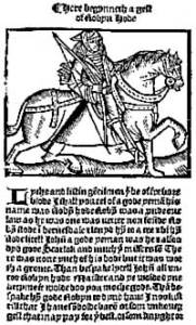 'A Lytell Geste of Robyn Hode' (Printed c.1470 by Wyknen de Worde) [Source: Wikipedia]