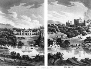 An 1816 print emphasising the difference between the neo-classical style and the Gothic [Source: Wikipedia]