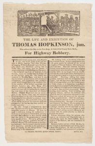 Thos. Hopkinson - Executed in 1819 for Highway Robbery