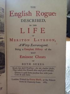 My personal copy of The English Rogue Described (1674)