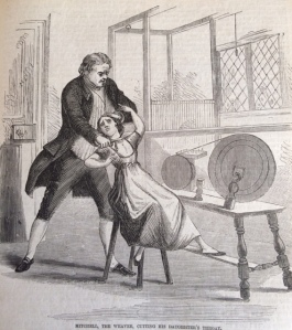Mr. Mitchell cutting his daughter's throat. Illustration from The Newgate Calendar (1864) [Scanned Image].