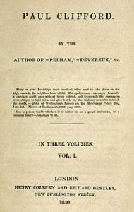 Title Page: Paul Clifford (1830) by Sir Edward Bulwer Lytton.