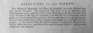 'Directions to the Binder' in The Britannic Magazine for the Year 1793.