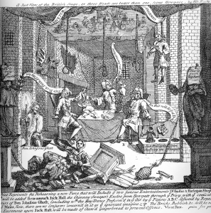 William Hogarth's A Just View of the English Stage, satirising The Rehearsal and Cibber.