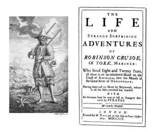 Title Page and Frontispiece to the First Edition of Daniel Defoe's Robinson Crusoe (1719)