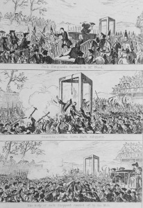 Jack Sheppard's Progress to Tyburn. illustration by G. Cruishank (1839).
