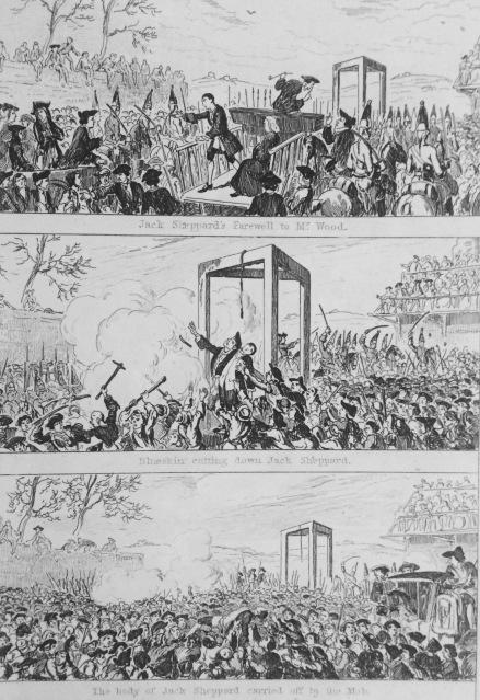 Jack Sheppard's Progress to Tyburn. illustration by G. Cruishank (1839).