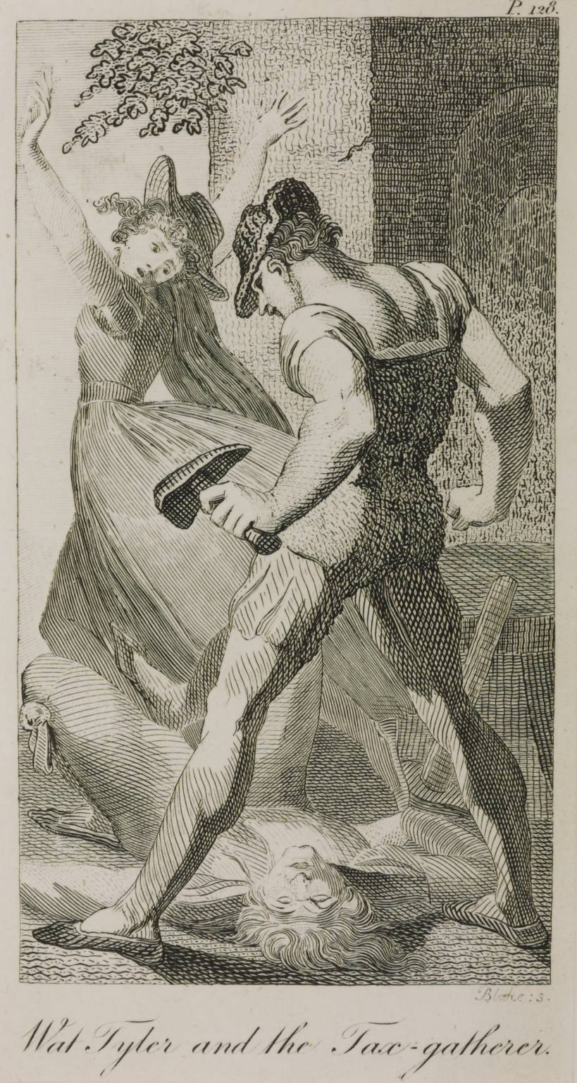 Wat Tyler and the Tax-Gatherer (after Henry Fuseli) 1797, published 1798 by William Blake 1757-1827