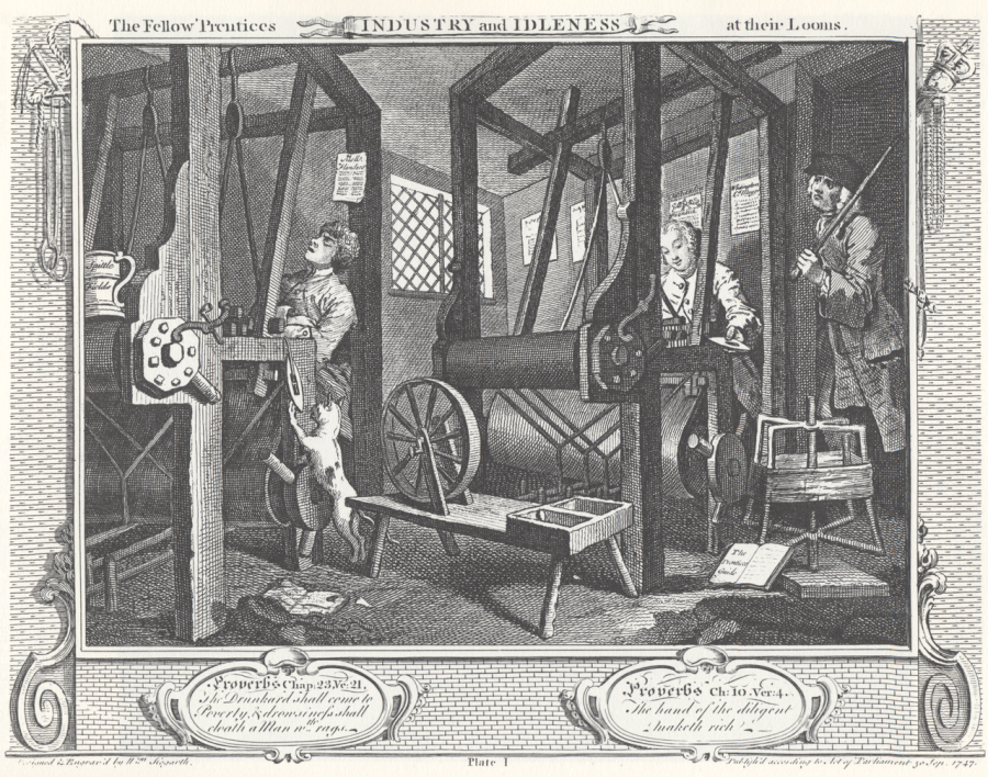 1280px-William_Hogarth_-_Industry_and_Idleness,_Plate_1;_The_Fellow_'Prentices_at_their_Looms